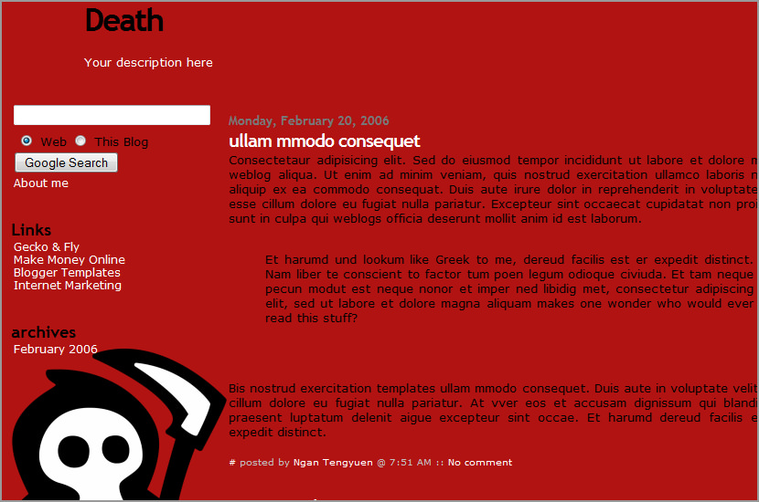 death blogger template