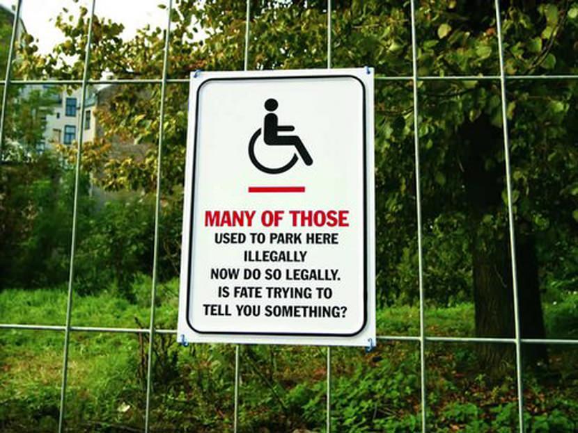 disabled advertisement creative ads logo reminder parking bay