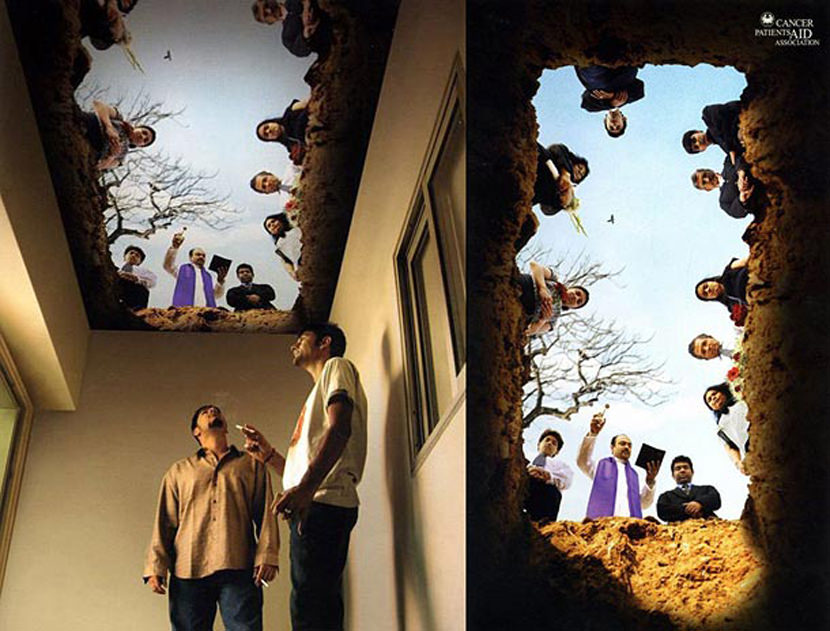 12 creative guerrilla quit smoking advertisement for Ceiling mural in a smoker s lounge