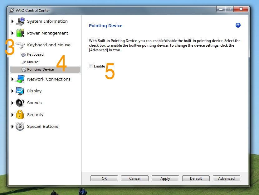 How to Disable Touchpad on Sony Vaio Laptop for Windows 7