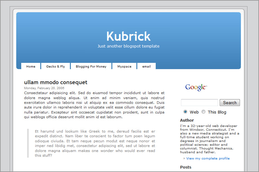 kubrick blogspot template