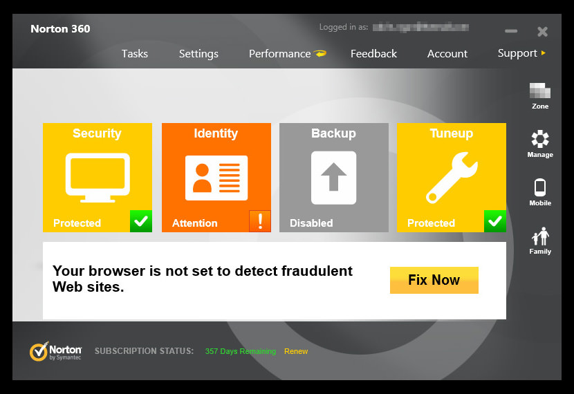 Screenshot of Norton 360 version 6.0