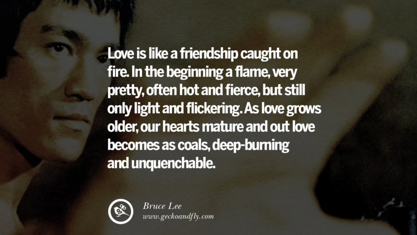 Love is like a friendship caught on fire. In the beginning a flame, very pretty, often hot and fierce, but still only light and flickering. As love grows older, our hearts mature and out love becomes as coals, deep-burning and unquenchable. best inspirational tumblr quotes instagram Quotes from Bruce Lee's Martial Arts Movie kung fu Ip man