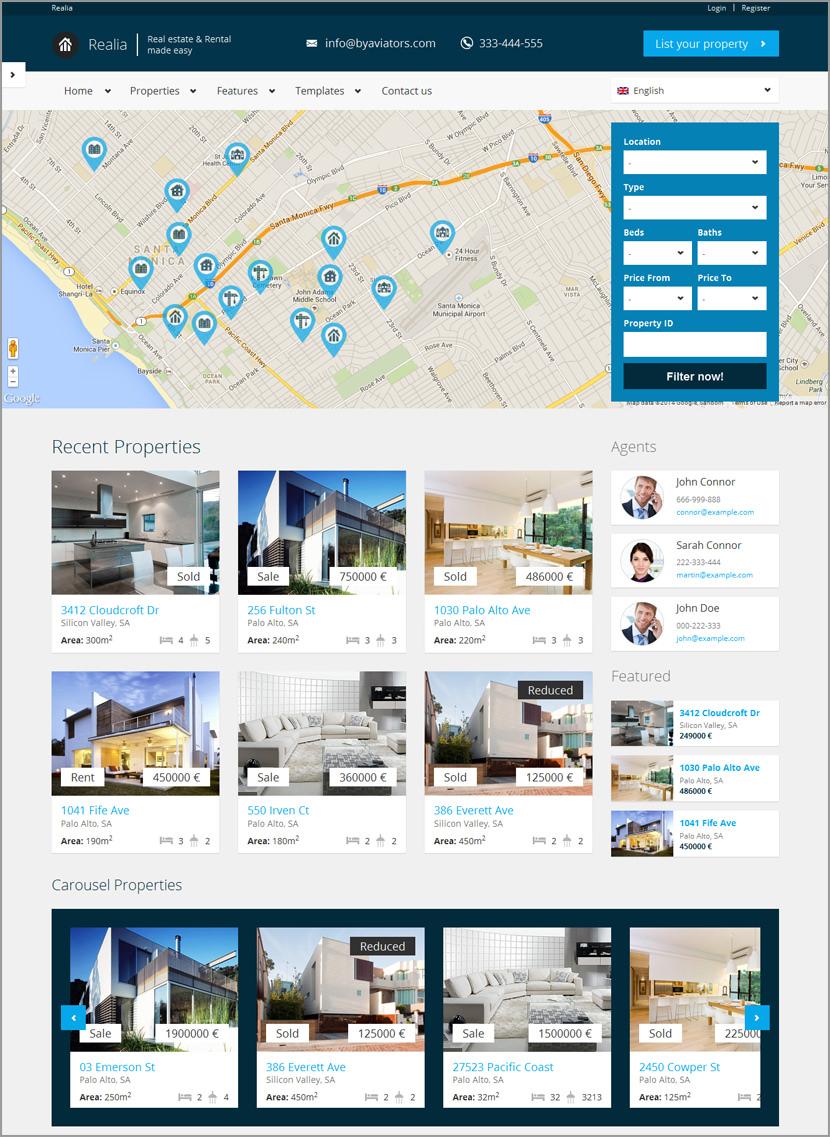 realia real estate rental wordpress