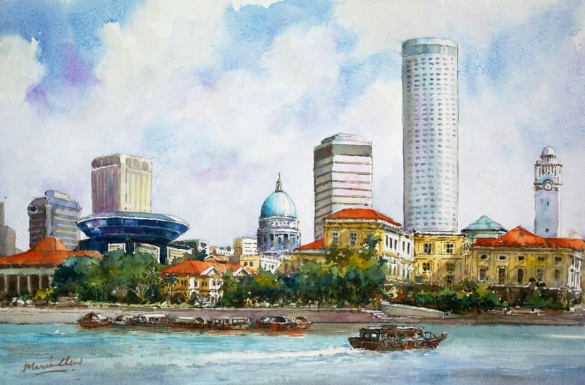 singapore riverbank painting art