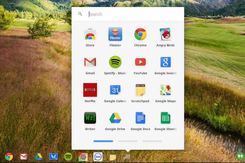 Chrome OS screenshot apps menu