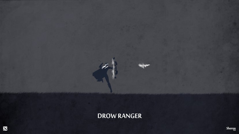 Drow Ranger download dota 2 heroes minimalist silhouette HD wallpaper