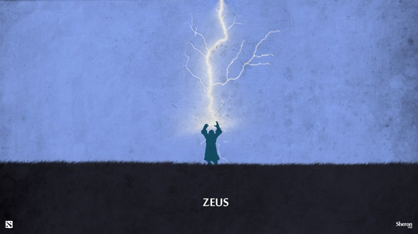 Zeus download dota 2 heroes minimalist silhouette HD wallpaper
