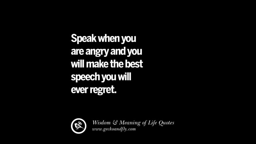 Speak when you are angry and you will make the best speech you will ever regret. funny wise quotes about life tumblr instagram wisdom Funny Eye Opening Quotes About Wisdom And Life twitter reddit facebook pinterest tumblr