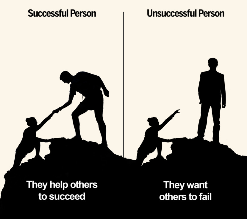 They help others to succeed vs they want others to fail.
