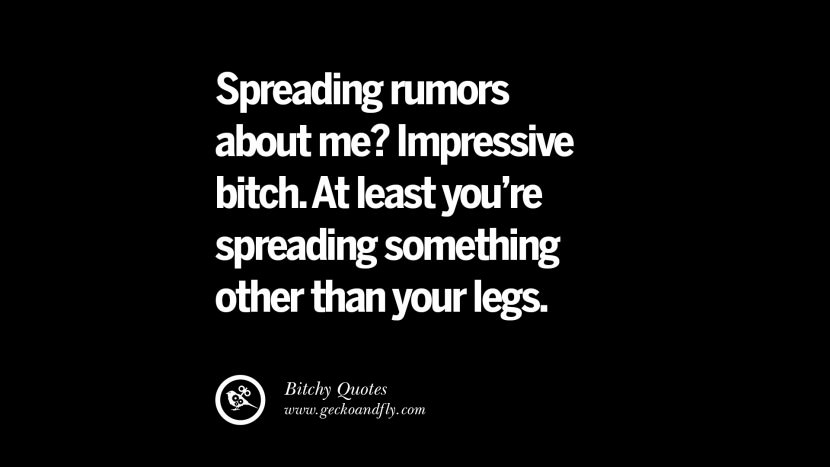 Spreading rumors about me? Impressive bitch. At least you're spreading something other than your legs. best tumblr instagram pinterest inspiring meme face
