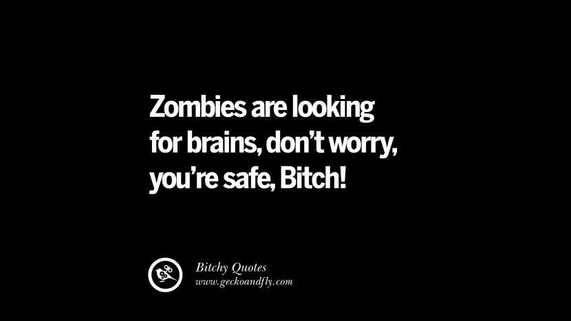 Zombies are looking for brains, don't worry, you're safe, Bitch! best tumblr instagram pinterest inspiring meme face