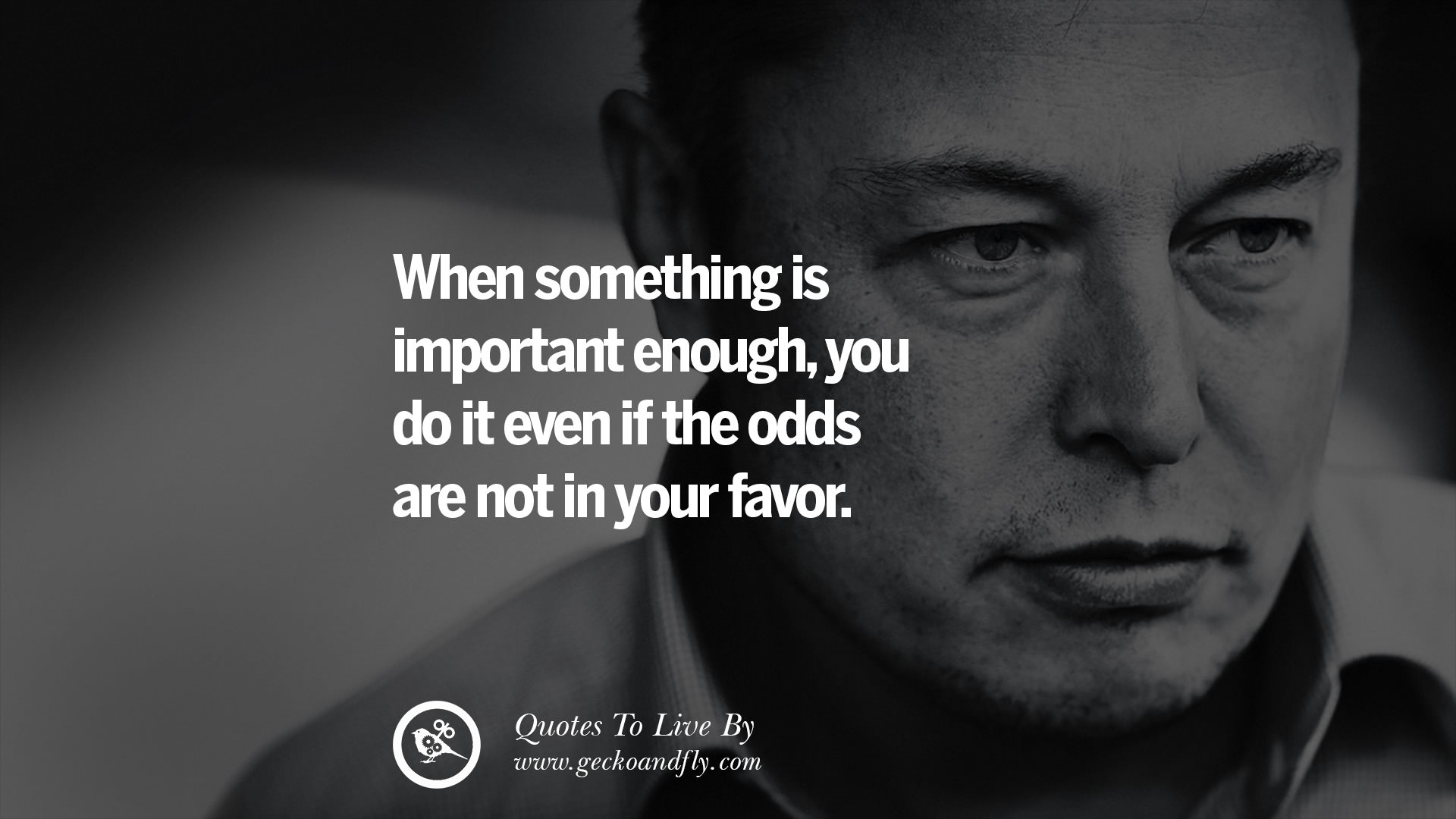 when something is important enough you do it even if the odds are not in your favor