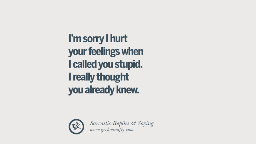 I'm sorry I hurt your feelings when I called you stupid. I really thought you already knew. Funny Non-Swearing Insults And Sarcastic Quotes for fake friends, ex bf, ex gf, boyfriend, girlfriend, enemies and haters facebook twitter pinterest