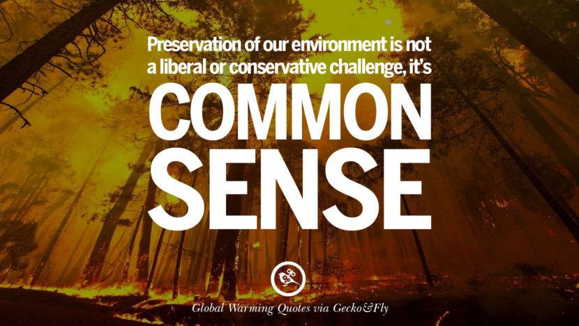 Preservation of our environment is not a liberal or conservative challenge, it's common sense. Global Warming Quotes About Carbon Dioxide, Greenhouse Gases, And Emissions