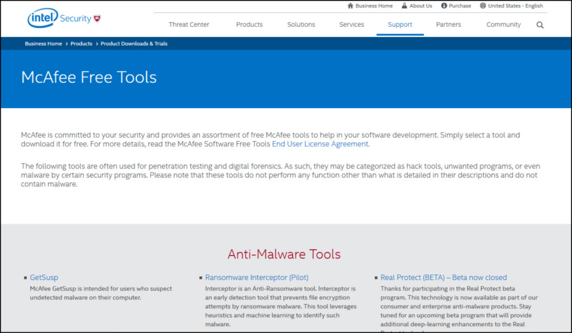 McAfee Anti-Malware Tools