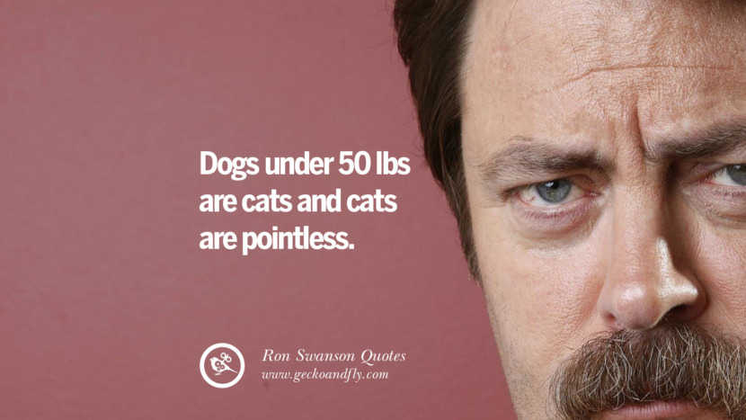 Dogs under 50 lbs are cats and cats are pointless. Funny Ron Swanson Quotes And Meme