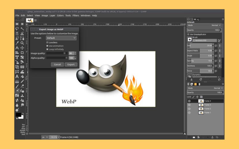 GIMP WebP Import Export Plugin