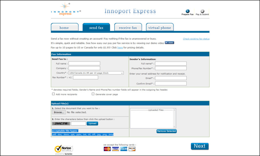 innoport express pay per fax