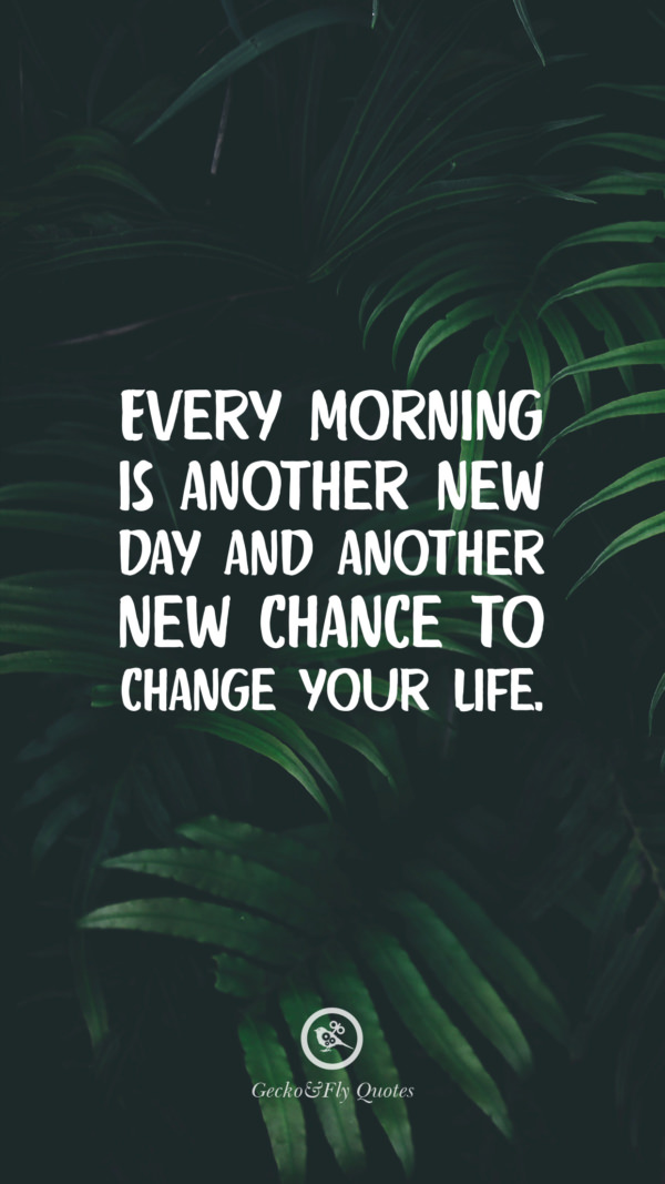 Every morning is another new day and another new chance to change your life.