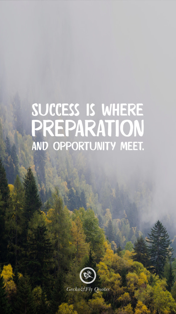 Success is where preparation and opportunity meet.