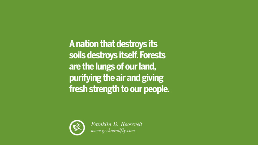 A nation that destroys its soils destroys itself. Forests are the lungs of our land, purifying the air and giving fresh strength to our people. – Franklin D. Roosevelt