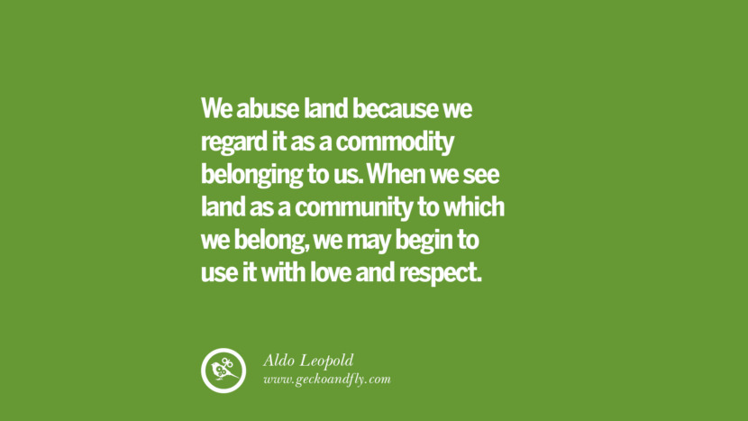 We abuse land because we regard it as a commodity belonging to us. When we see land as a community to which we belong, we may begin to use it with love and respect. -Aldo Leopold Sustainability Quotes On Recycling, Energy, Ecology, And Biodiversity