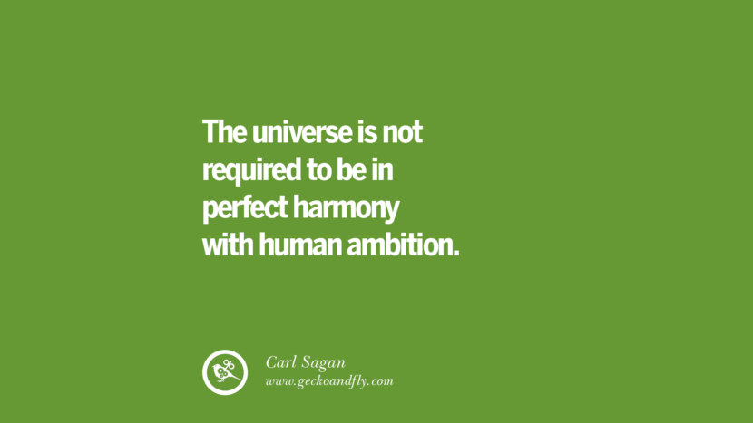 The universe is not required to be in perfect harmony with human ambition. – Carl Sagan