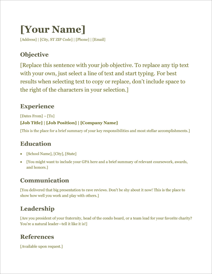Microsoft Office Resume Template 2007 from cdn2.geckoandfly.com