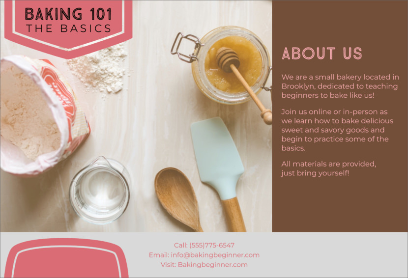 baking class bakery Free Editable Professional Brochure Templates