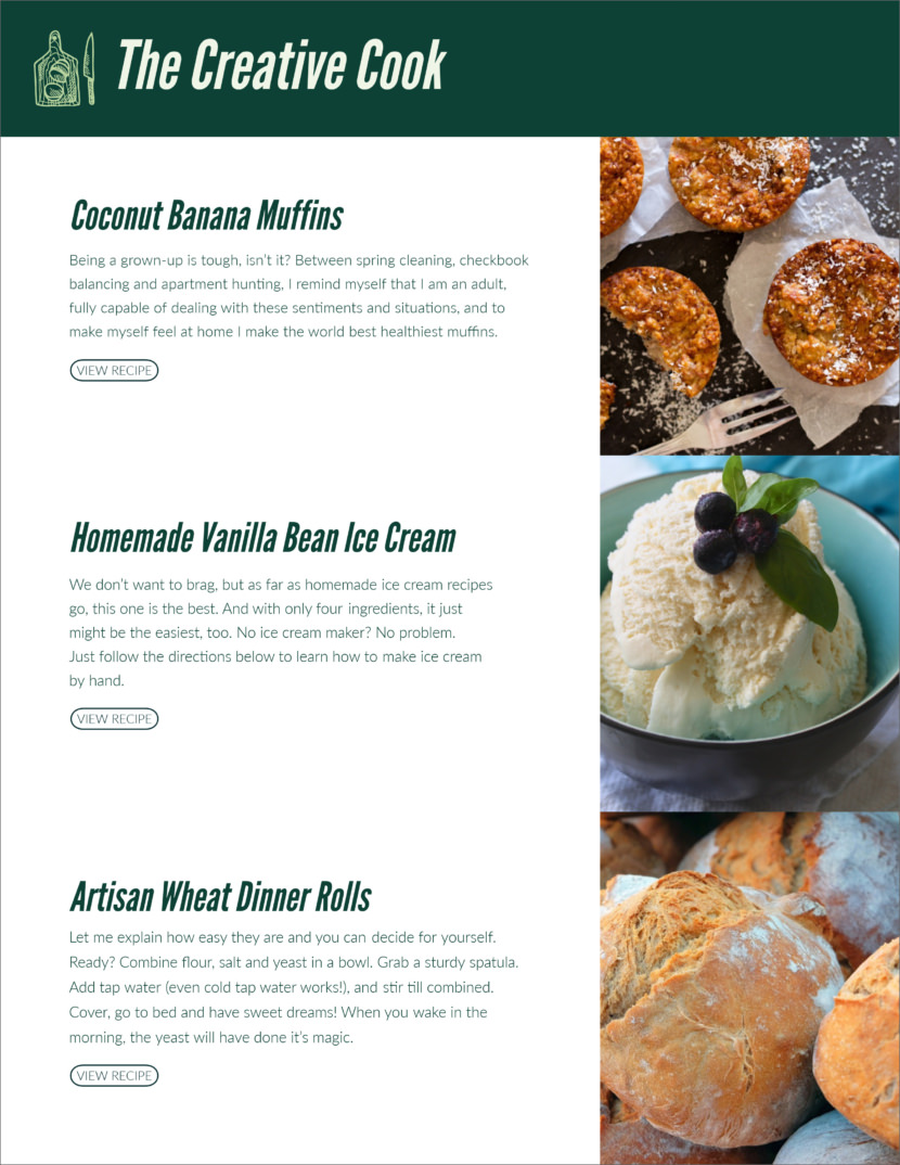 food restaurant Screenshot of free printable newsletter template for school and communities