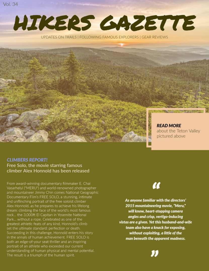 Hiking outdoor adventure Screenshot of free printable newsletter template for school and communities