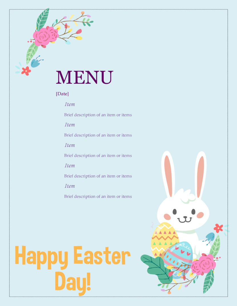 easter christian church Free Simple Menu Templates For Restaurants