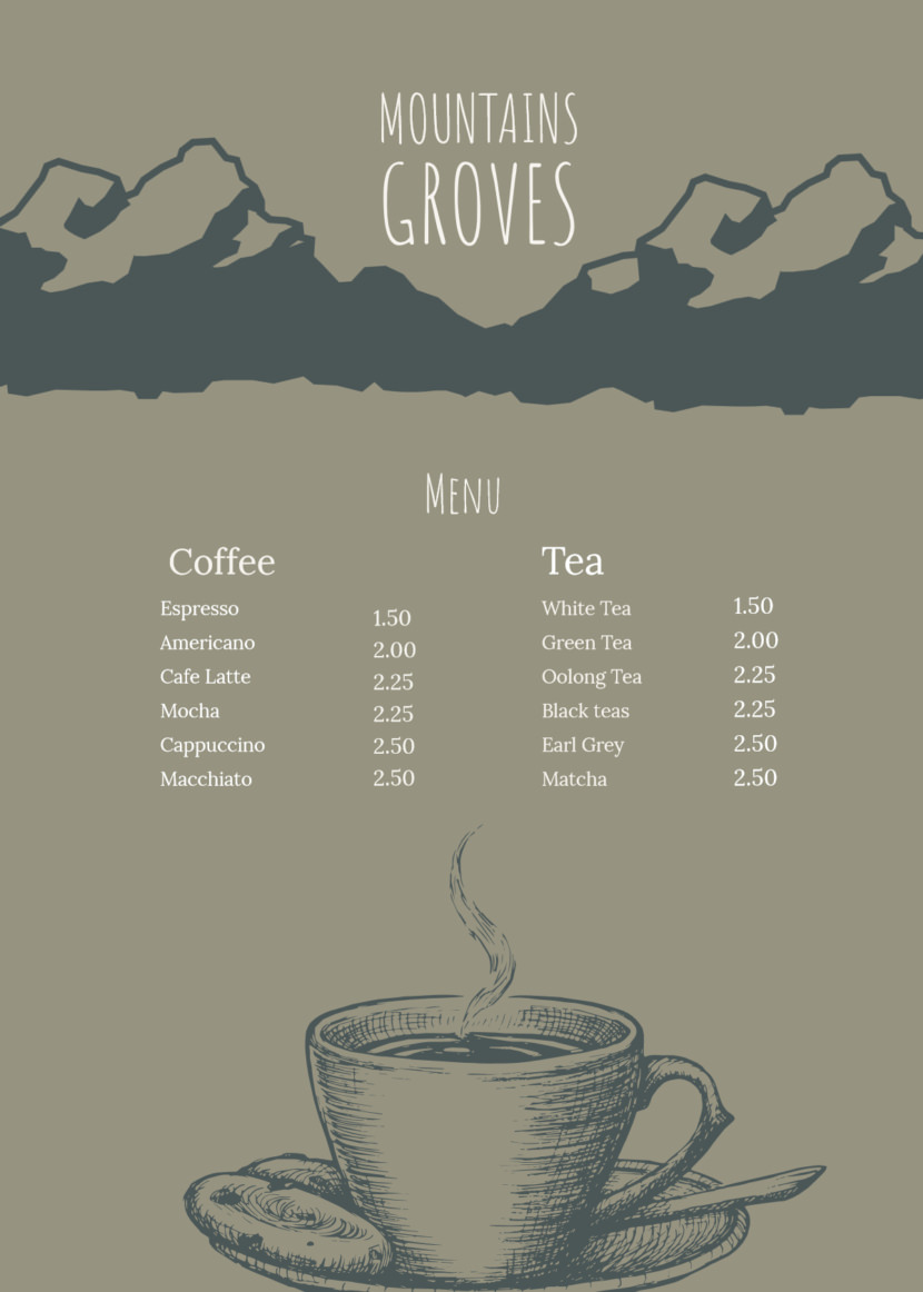coffee drinks tea Free Simple Menu Templates For Restaurants