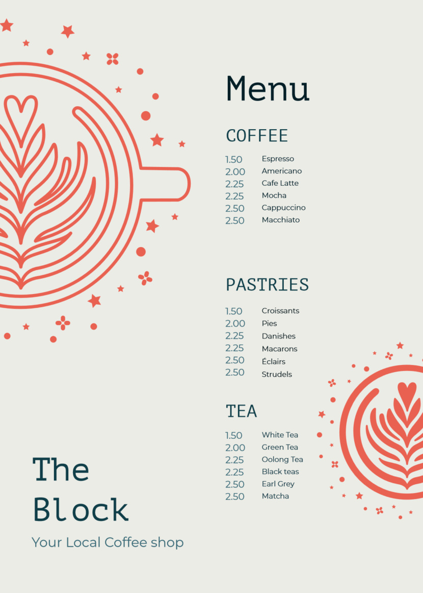 cafe cake food simple Free Simple Menu Templates For Restaurants
