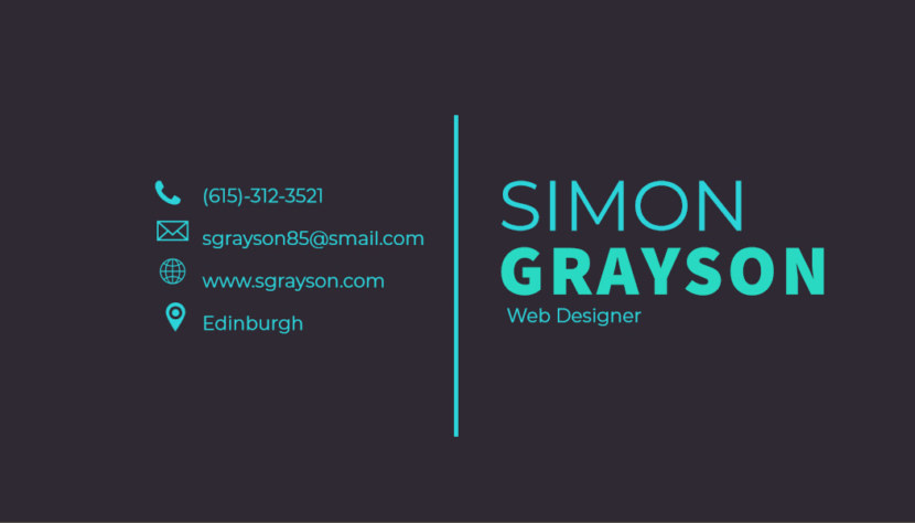 Screenshot of blank web designer Business Card Template