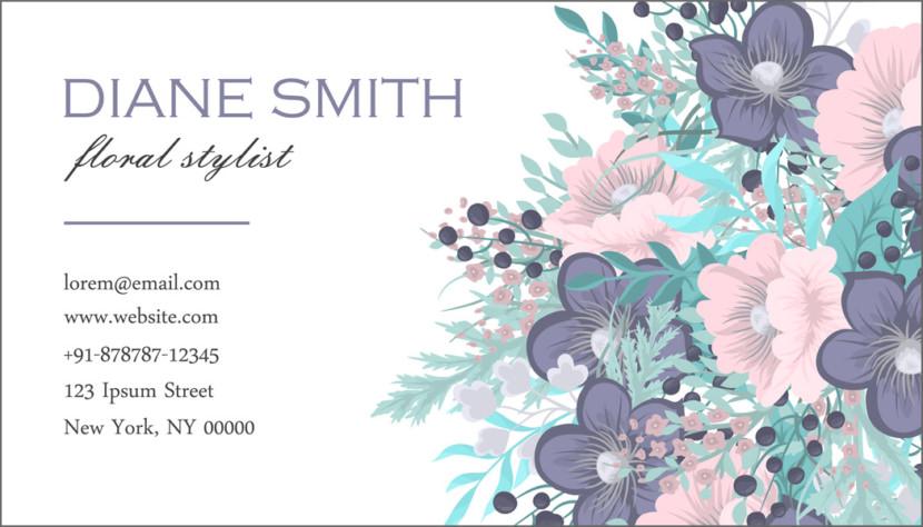 Screenshot of blank Flower Business Card Template