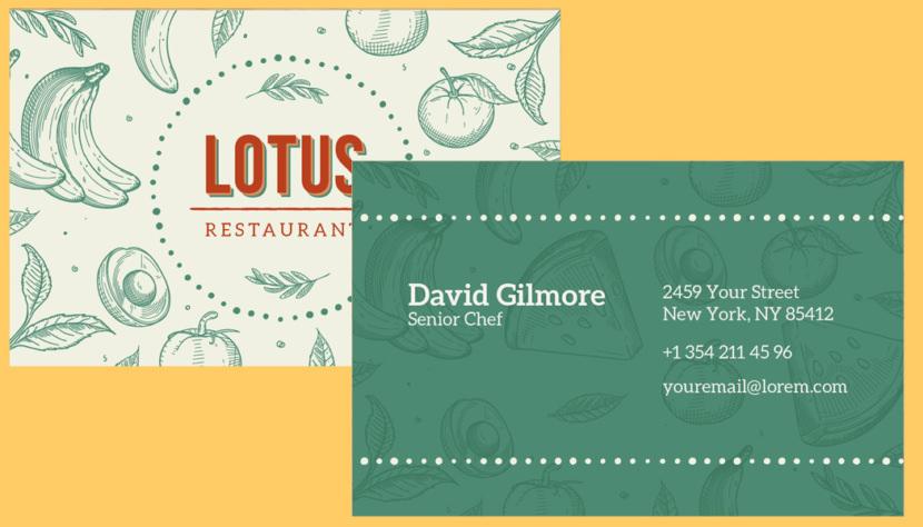 Screenshot of blank Restaurant Business Card Template