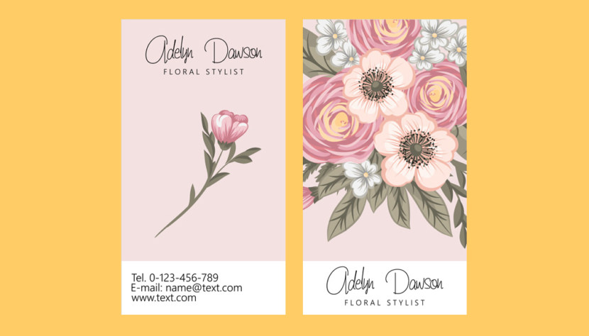 Screenshot of blank Floral Stylist Business Card Template