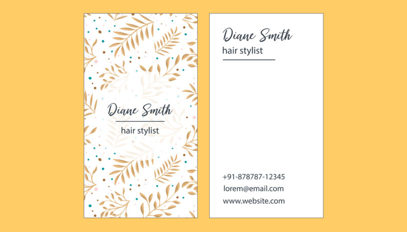 Screenshot of blank Hair Stylist Business Card Template