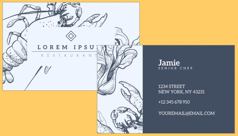 Screenshot of blank Restaurant Sketch Business Card Template