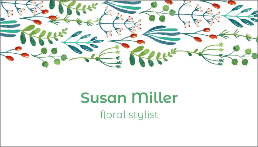 Screenshot of blank Watercolor Floral Business Card Template