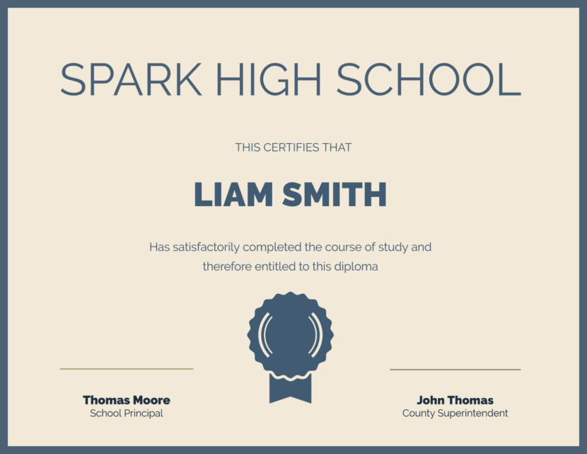 Creative Blank Certificate Templates high school