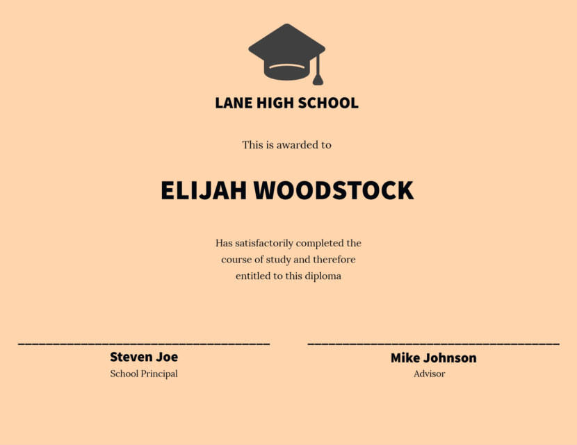 high school Blank Certificate Templates