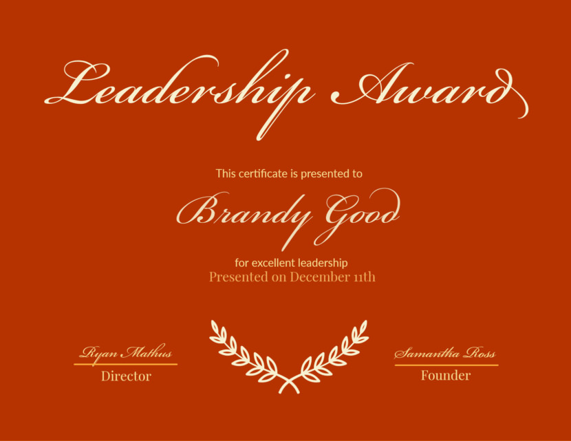 leadership Blank Certificate Templates
