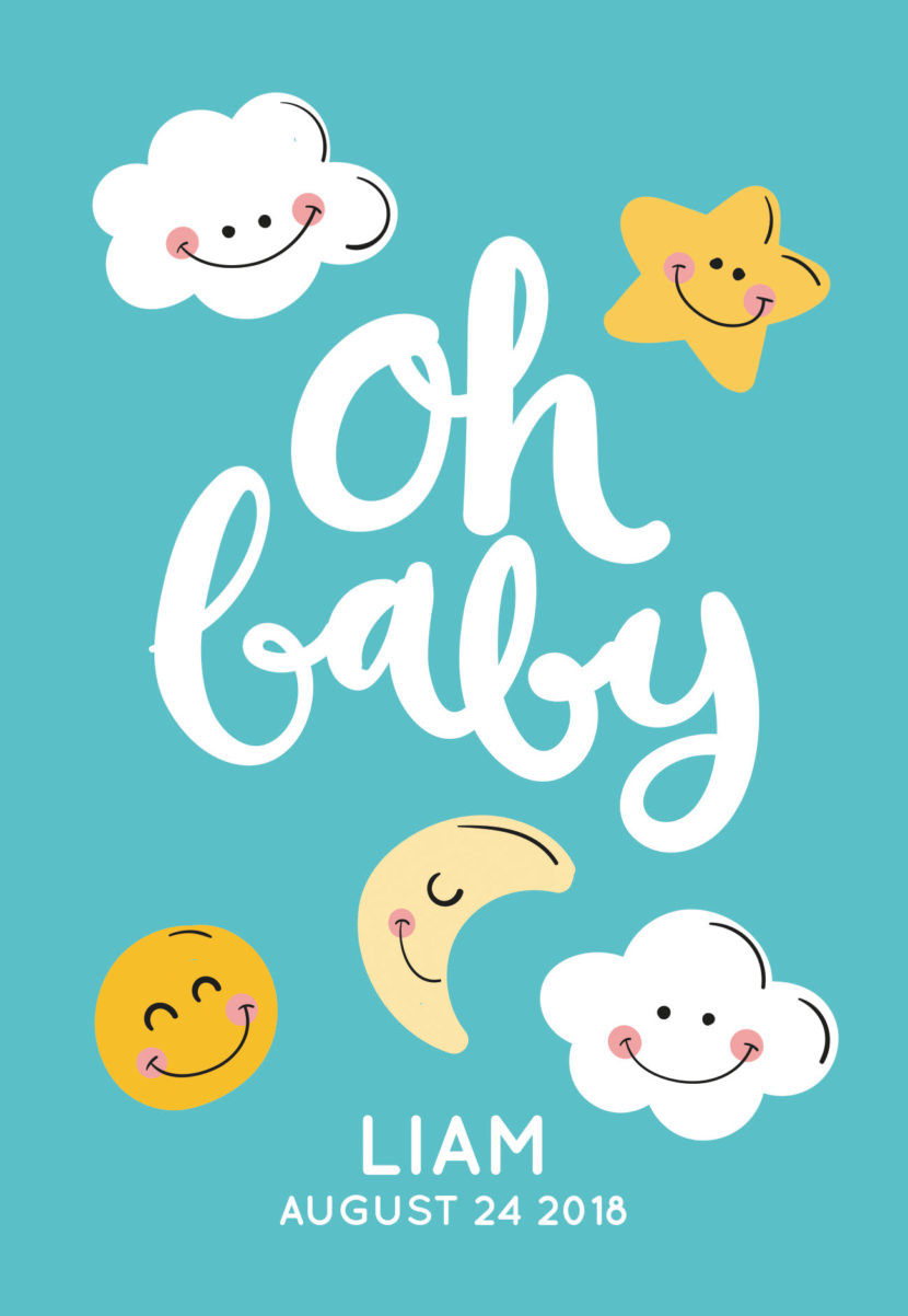 Baby Shower Invitation With Cute Clouds Stars