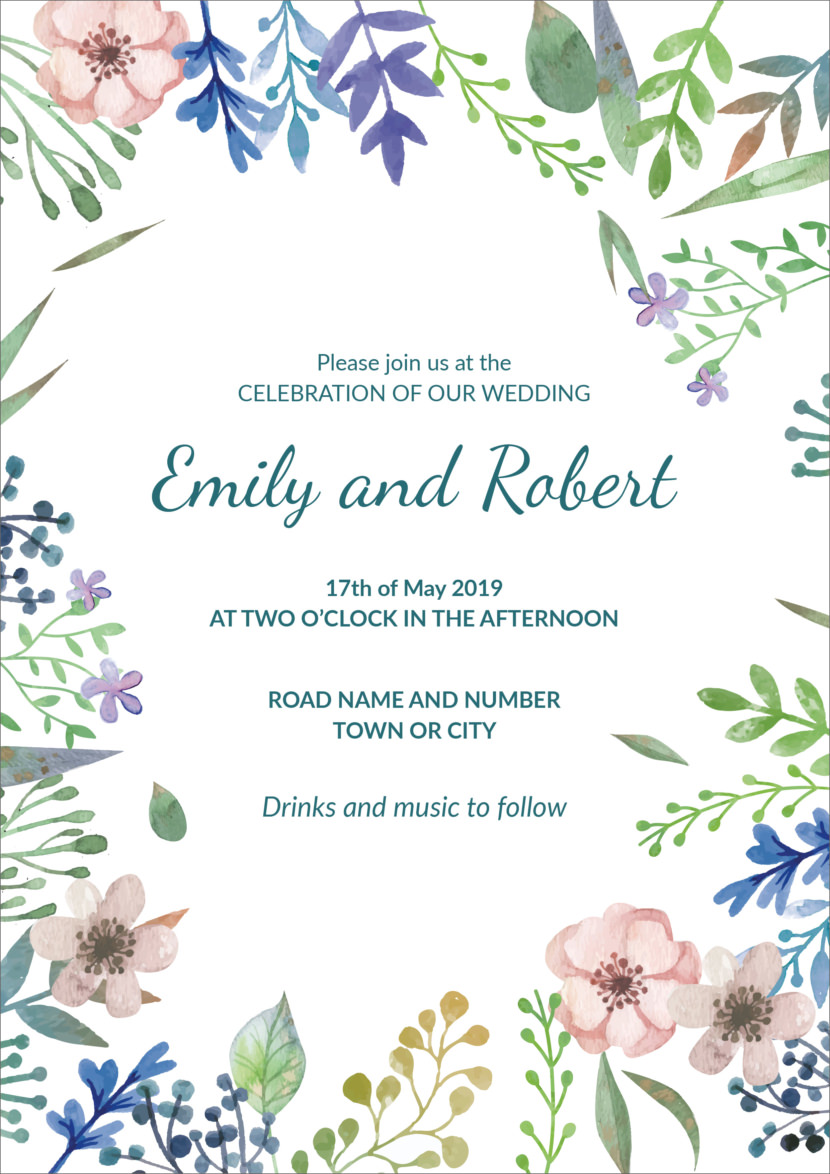 Free Wedding Invitation Template Printable And Editable PSD