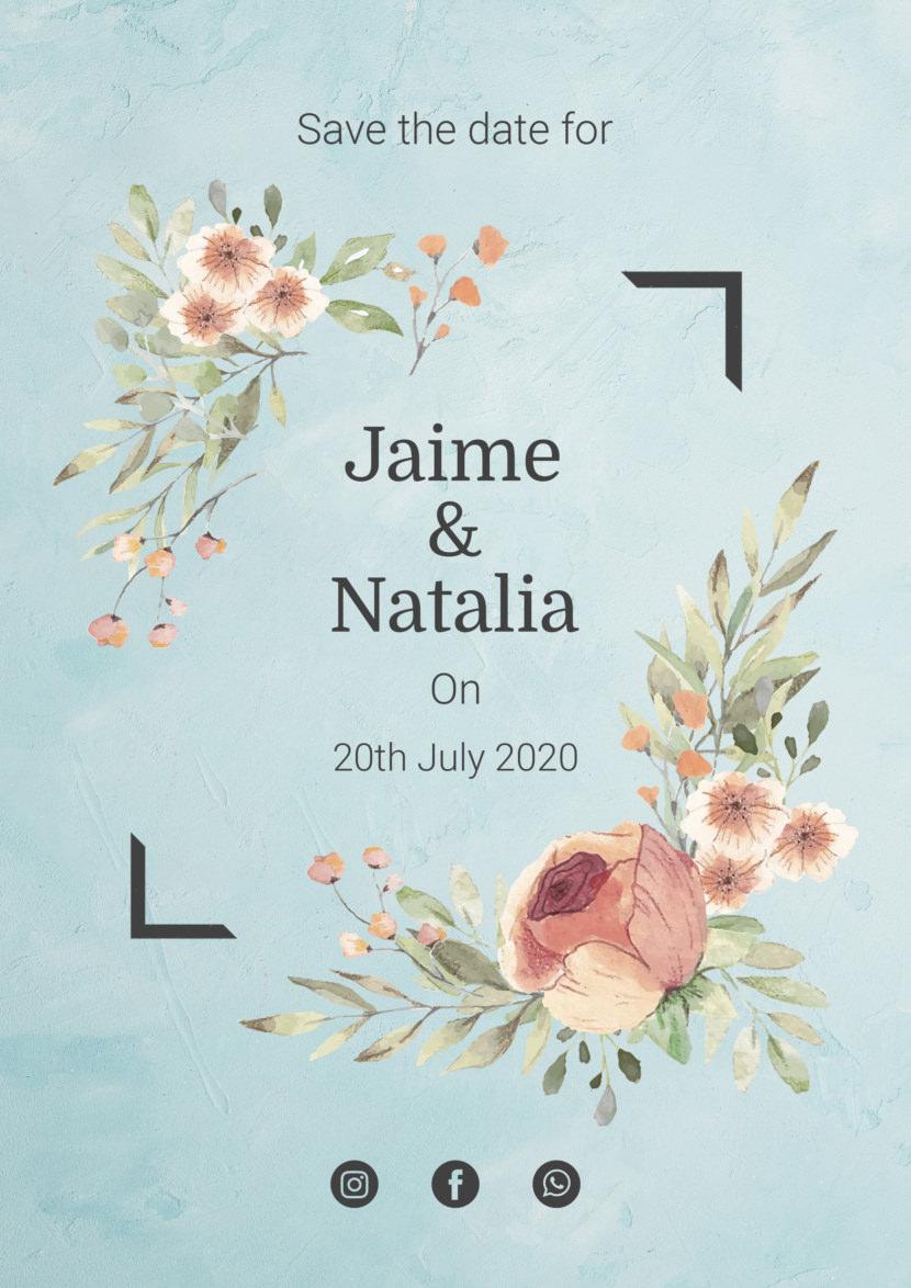 Wedding Invitation Watercolor Flower Template Printable And Editable PSD