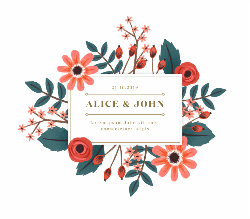 Hand Painted Floral Wedding Card Printable And Editable PSD