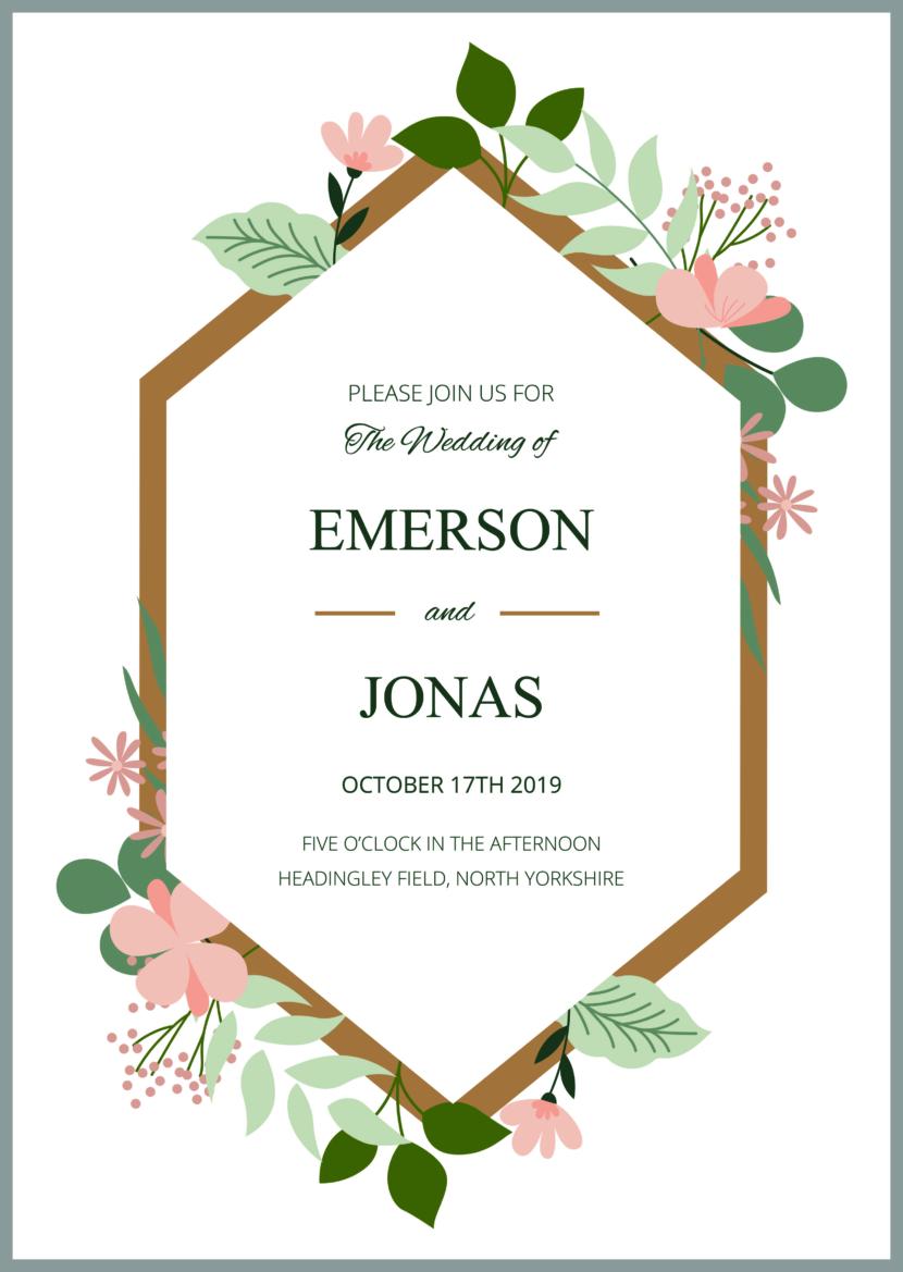 Modern Wedding Invitation Template Printable And Editable PSD
